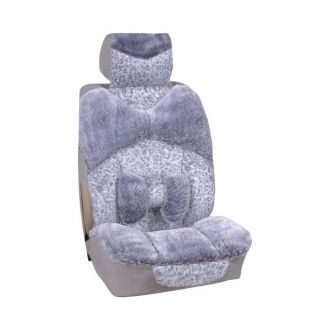 Чехлы сиденья меховые искусственные 5 предм.  SKYWAY ARCTIC Серый пятнистый с подушечкой для поддержки спины