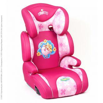 """Детское кресло Смешарики"""", группы 2/3 (15-36 кг/3-12 лет), полиэстер, поролон 3 см, розовый с Нюшей"""