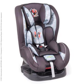 """Детское кресло Смешарики"""", группы 0+/1 (0-18 кг/0-4 года), полиэстер, поролон 3 см., чёрн./тём.серый с Пином"""
